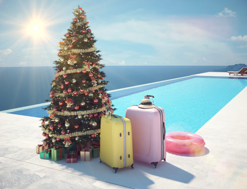 Christmas Time Swimming Pool Decorations in Warm Weather Locations